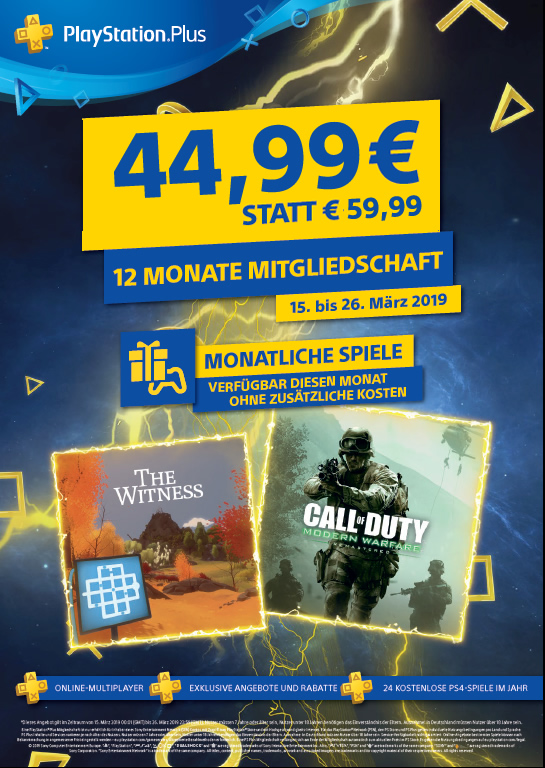 PlayStation Plus 12 Monate Sonderangebot